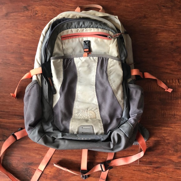 Gray & peach Recon North Face backpack